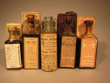 5 Pharmaceutical Bottles with Boxes.