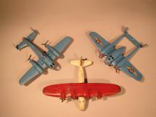 Three Wyandotte Pressed Steel Toy Airplanes.