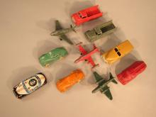Collection of Ten Diminutive Vintage Toy Vehicles and Airplanes.