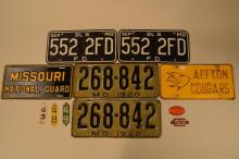 Collection of Eleven Vintage License Plates and Year Insert Tabs