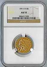 1911-D $5 AU55 NGC