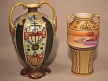 Two Nippon Double Handled Vases.
