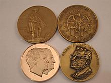 Four Large Political And Patriotic Metal Medallions.