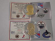 Two NHL Limited Edition Two-Toned .999 Silver Medallions.