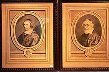 Estampe d'après Nauteuil, paire de portraits 33 x 235 cm