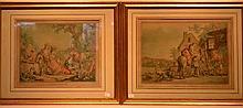 Estampes d'après Huet par Jubier, paire de gravures