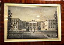 Estampes, paire de gravures style architectural, lieux de Bruxelles d'après