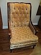 VINTAGE ARM CHAIR WITH WOOD TRIM