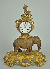 FRENCH BRONZE ELEPHANT & PUTTI CLOCK