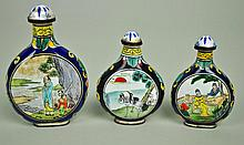 (3) CHINESE ENAMELED SNUFF BOTTLES
