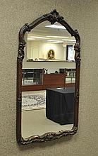 VINTAGE CARVED MAHOGANY WALL MIRROR
