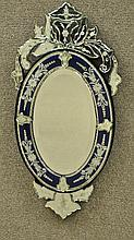 ETCHED COBALT BLUE VENETIAN GLASS MIRROR