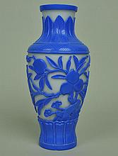 CHINESE CARVED PEKING GLASS VASE