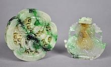 CHINESE CARVED JADE MEDALLION & SNUFF BOTTLE