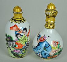 (2) CHINESE PAINTED PORCELAIN SNUFF BOTTLES