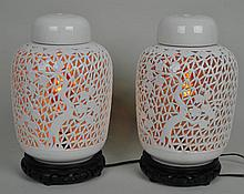 PAIR CHINESE PIERCED GINGER JAR LAMPS