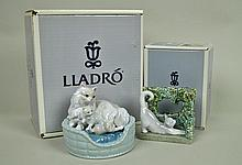 (2) LLADRO FIGURINES - KITTY CARE & KITTEN
