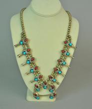 TURQUOISE & CORAL SILVER SQUASH BLOSSOM NECKLACE