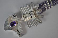 EAGLE KACHINA SILVER PENDANT WITH AMETHYST BEADS