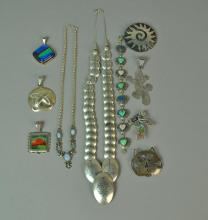 (10) PIECE SILVER JEWELRY GROUP