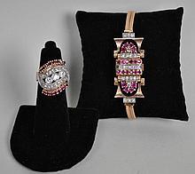 RETRO DIAMOND & RUBY RING AND BRACELET WATCH