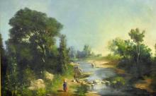 CONTINENTAL SCHOOL (19THC.), FISHING LANDSCAPE