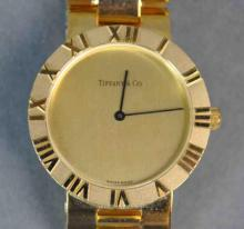 GENTS VINTAGE TIFFANY ATLAS 18K BRACELET WATCH