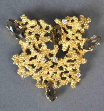 DIAMOND & SMOKY TOPAZ GOLD NUGGET BROOCH