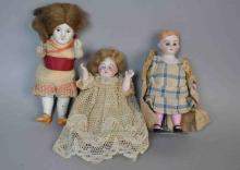 (3) ALL-BISQUE DOLL HOUSE DOLLS