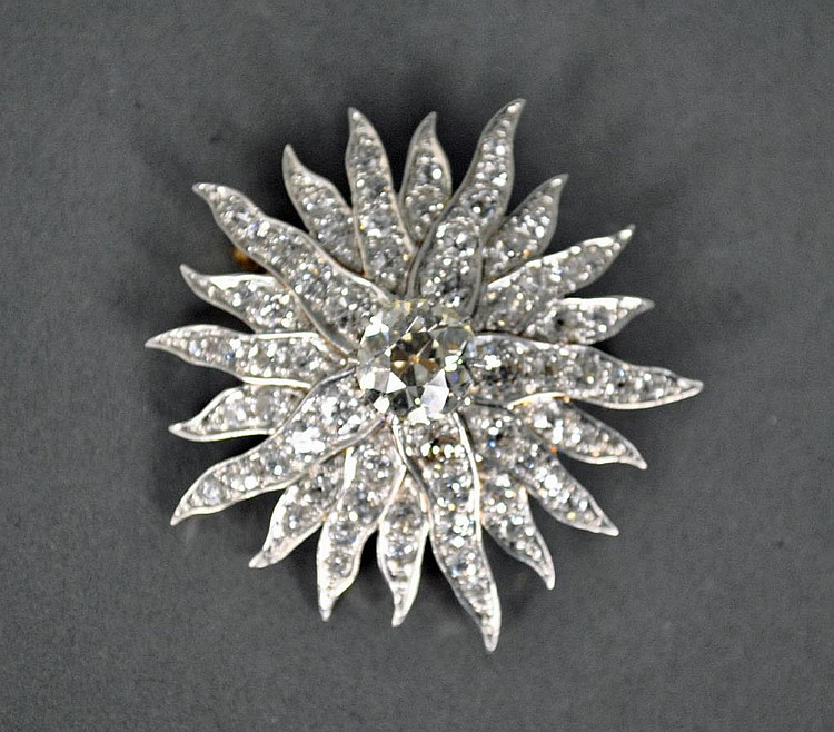 DIAMOND STARBURST PIN / PENDANT, 6.80CTW