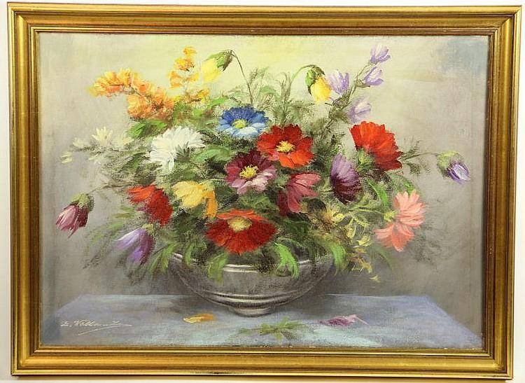 Ewald Wallantin (Ger., b. 1923), Floral Still Life