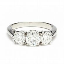 Platinum Three Stone Diamond Ring, Tiffany & Co.