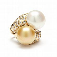 18KT Pearl and Diamond Ring, Keil