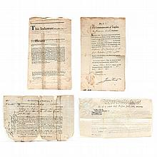 Four Partially Printed 18th Century Documents