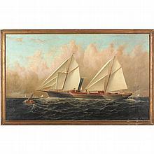 Elisha Baker (NY/CT, 1827-1890), Steam & Sail Merchant Ship