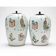 Matched Pair of Hand Painted Chinese Porcelain Jars