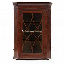 George III Inlaid Hanging Corner Cupboard