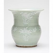 Chinese Molded Pale Celadon Vase