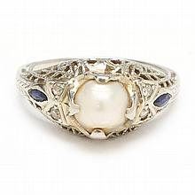 18KT Vintage Pearl and Diamond Ring