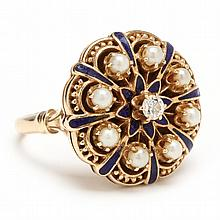 Diamond, Enamel, and Seed Pearl Ring