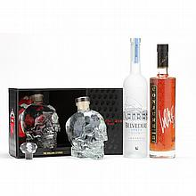 NV Crystal Head Vodka, Belvedere Vodka & Conjure Cognac