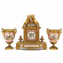 Japy Freres Louis XVI Style Clock Garniture Set