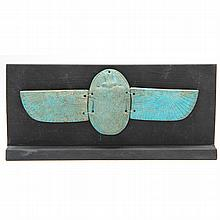 Ancient Egyptian Blue Faience Winged Scarab
