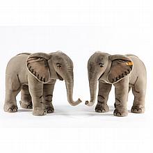 A Pair of Mohair Studio Elephants, Steiff