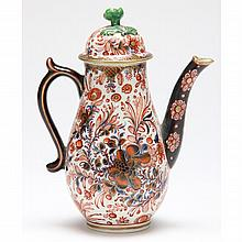 Unusual Dr. Wall Worcester Coffee Pot, 18th Century