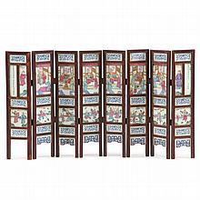 Chinese Porcelain Eight Panel Scholar's Screen