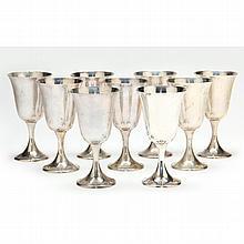 Set of Nine Gorham Sterling Silver Goblets