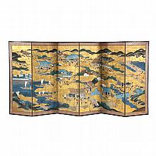 Japanese Six Panel Painted Floor Screen