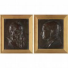 William S. Shanks (Scottish, 1864-1951), Pair of Portrait Plaques