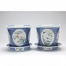 Pair of Chinese Porcelain Jardinieres with Underplates